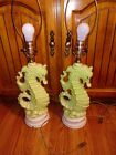 Great Pair of Vintage SEAHORSE Ceramic Table Lamps Great for Beach House!