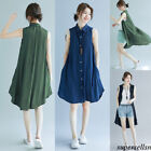 Women Cotton Linen Button Down T-Shirt Solid Pnocho Plus Tunic Cardigan Blouse