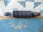 Small Antique Grooved Wood Rolling Pin Chambray Blue Milk Paint