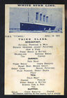 R.M.S. TITANIC WHITE STAR LINE SHIP BOAT RESTAURANT MENU POSTCARD COPY TITANIC