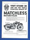 """The  MATCHLESS 350 """"CLUBMAN""""  Model 37/G3  MORORCYCLE     (1936 Advertisement)"""