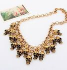 N625 Betsey Johnson Cute Skull Golden Pirvate Head Charms Halloween Necklace US