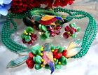 VTG ENAMEL BIRD PARROT FRUIT SALAD GLASS NECKLACE BRACELET EARRINGS PARURE SET!