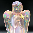 Fenton glass art vtg Angel gold butterfly figurine opalescent statue sculpture