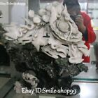 Unique Natural Dushan Jade Carved Red-crowned crane Birds Bat Peach Peony Flower