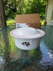 FIESTA christmas CASSEROLE LID white 2016 Salary Holiday Luncheon HOLLY RIBBON