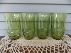 Set of 4 Vintage Anchor Hocking Avocado Green Glass Colonial Tulip Tumblers