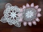 Two Vintage Handmade Crochet Doily Cream Pink Floral 21