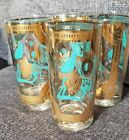 A+ 4 VINTAGE 50s FRED PRESS MID CENTURY  COCKTAIL TROJAN HORSE TURQUOISE GLASSES