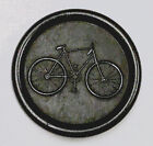 Large black composition pictorial button featuring a BICYCLE. Mint.