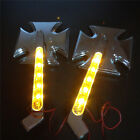 LED Turn signal Maltese Cross style mirrors for Harly Springer Chrome