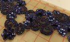 12 dark blue wide beaded appliques iridescent seed beads sequins 18 x 4