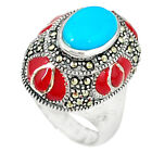 Blue Sleeping Beauty Turquoise Marcasite Enamel 925 Silver Ring Size 7.5 A44081