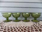 Vintage Set of 4 Indiana Green Glass Whitehall Cubist Footed Dessert Cups