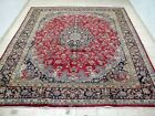 10X13 1940's GORGEOUS ANTIQUE HAND KNOTTED 70+YRS SIGNED WOOL MASHAD PERSIAN RUG