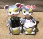 Vtg Set of Anthromorphic Salt and Pepper Mice Couple Holding Hands Shakers Japan