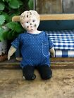 Early Antique Minerva Tin Head Doll with 1890s Indigo Calico Playsuit