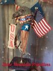 Primitive Folk Art  Large Americana Grungy CROW MAKE DO ~American Flag Wings