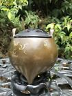 Antique Gold And Silver Inlaid Bronze Censer