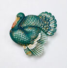Beautiful large rare ARITA button of a TURKEY detailed in greens and gold. Mint.