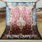Yilong 4'x6' Persian Silk Rugs Handmade Pink Flowers Carpets Hank Knotted 0128