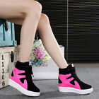 Womens Lace Up Hidden Wedge Running Sports High Top Sneakers Athletic Shoes