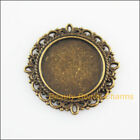 4 New Charms Round Flower Picture Frame Pendants Antiqued Bronze Tone 31mm