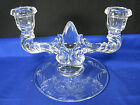 New Martinsville Glass Candle Stick Holders Tear Drop Double Crystal Clear 7.5