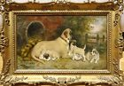 Puppies Kennel Antique Oil Painting
