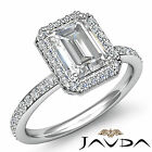 Halo Emerald Diamond Vinatge Engagement Ring GIA Certified H SI1 Platinum 2 ct