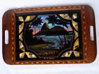 Art Deco Rio De Janeiro Inlaid Wood Reverse Painted Butterfly Wing Serving Tray
