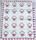 AMAZING 1880 RED WHITE BASKET ANTIQUE CRIB QUILT HAND PIECED  RARE