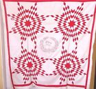 WHITE TOUCHING STARS QUILT TOP  DATED 1891