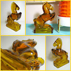 VTG 1960s MID Century Modern Amber Art Glass Trojan Horse LE Smith Sculpture