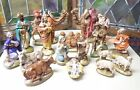 VINTAGE CHRISTMAS NATIVITY CRECHE SET OF 17 FIGURINES Hand Painted Ceramic