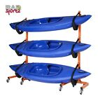 Rolling Kayak Canoe Rack Storage Holds 3 Free Standing Indoor Outdoor Wheels
