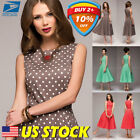 Womens Polka Dot A Line Swing Elegance Cocktail Dress Evening Party Dresses US