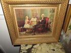 Antique Victorian Print Girl Playing Piano George Washinton flute Wood Frame