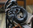 Ebony Wood Carving Chinese Fengshui Dragon Sculpture Prayer Beads Car Pendant JP
