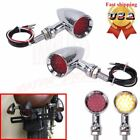 Red 20LED Chrome Bullet Stop Brake/Running Turn Signal Tail Light Motorcycle USA