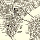 1943 Antique MANHATTAN MAP Vintage New York City Map Black and White 5693