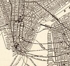 1923 Antique MANHATTAN MAP Vintage New York City Map Black and White 5702