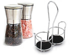 Salt  Pepper And Grinder Set With Matching Stand Stainless Steel Shakers Glass