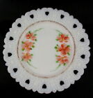 Kemple Milk Glass Lacy Hearts Plate Hand Painted Floral