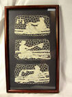 Antique Figural Needle Lace Panels Nude Fish Scales Water Framed (Italian?) Vtg