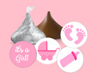 108 Baby Shower Hershey kiss candy stickersits a girlpinkfavors label reveal