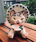 Vintage Anthropomorphic Kitten Cat Ceramic Planter Hat Flower Japan MCM Lefton