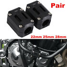 Pair 22/25/28mm Plastic Black Motorcycle Engine Protect Bumper Guard Block Kits