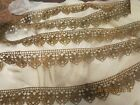 VINTAGE DEEP  GOLD TONE LACE  POINTED  EDGE MILLINERY CRAFT TRIM  BOHO QUILT T20