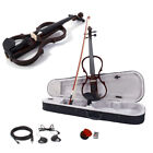 4 4 Electric Violin Silent Ebony parts Free Case+Bow Cable Rosin Headphone Line